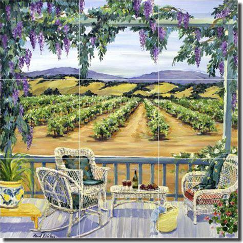 ceramic tile mural backsplash artwork on tile walker vineyard landscape ceramic tile