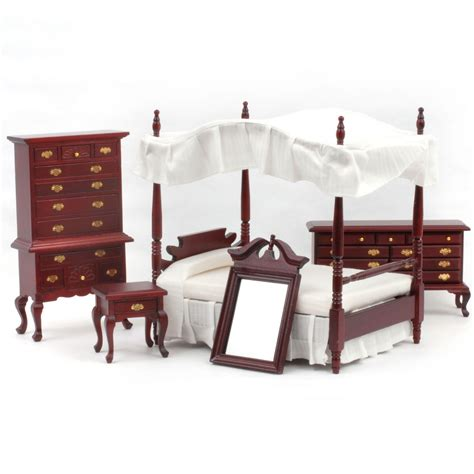 Mahogany Bed Set T3098 Mahogany Bedroom Set Dolls House Superstore