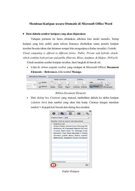 membuat daftar pustaka otomatis word cara membuat kutipan dan daftar pustaka otomatis di ms word