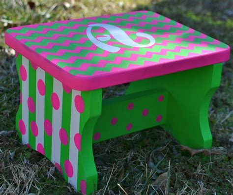 childrens painted step stools children s step stool chevron painted