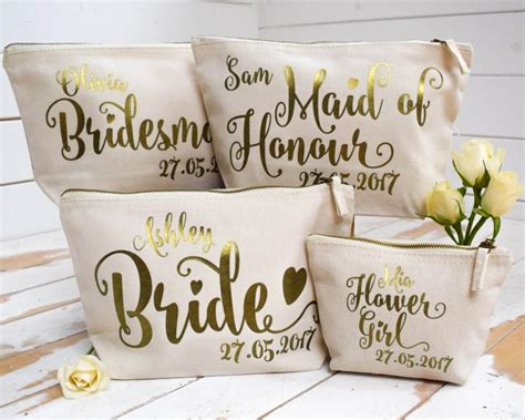 Wedding Flower Gifts by Personalised Bridal Gift Make Up Bag Bridesmaid