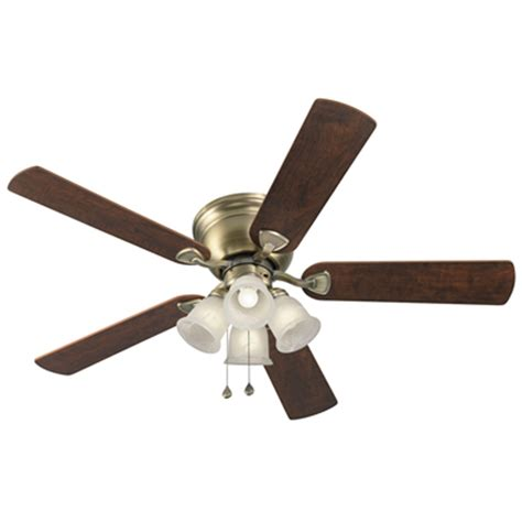 Brass Ceiling Fan With Light Shop Harbor Centreville 52 In Antique Brass Flush Mount Indoor Ceiling Fan With Light Kit