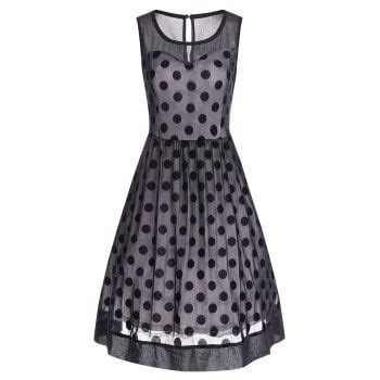 Black Dot Yarn Casual Top S040 2017 summer retro polka dot mesh yarn insert dress black xl in vintage dresses store