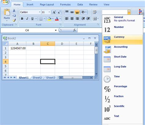 format microsoft excel 2007 format currency value format 171 editing 171 microsoft