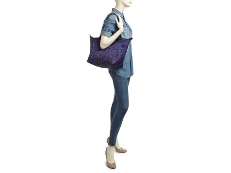Ch Le Pliege Neo Fantaisie Small lyst longch le pliage neo fantaisie large tote in blue