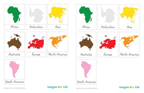 montessori three part cards template montessori continents map quietbook with 3 part cards