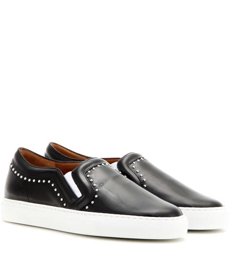 black leather slip on sneakers givenchy embellished patent leather slip on sneakers in
