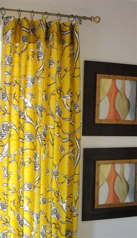 curtains with yellow curtains panel yellow drapes designer flate rod top drapery