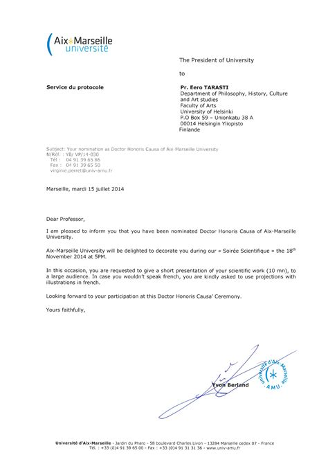 Invitation Letter Professor Tarasti Nomination As Doctor Honoris Causa Of Aix Marseille Iass Ais