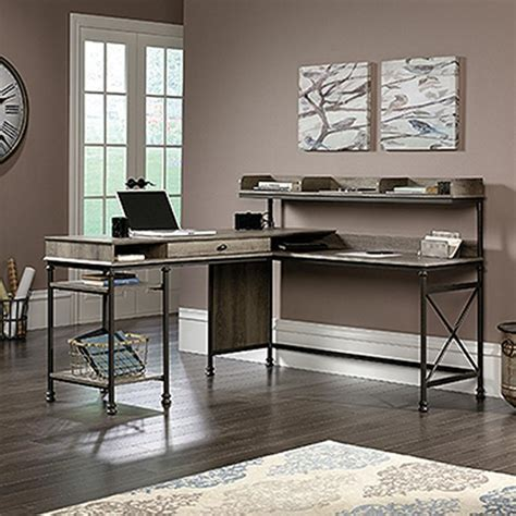sauder transit l shaped desk sauder canal northern oak l shaped desk 420509