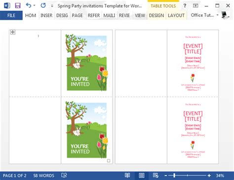 Spring Party Invitation Template For Word Microsoft Word Birthday Invitation Templates