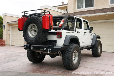 jeep gas can rack lod signature rear bumper tire carrier w rack jerry can