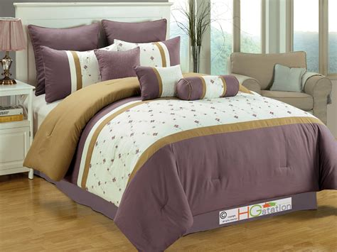 purple and gold comforter set 7 pc eden floral garden trellis embroidery comforter set