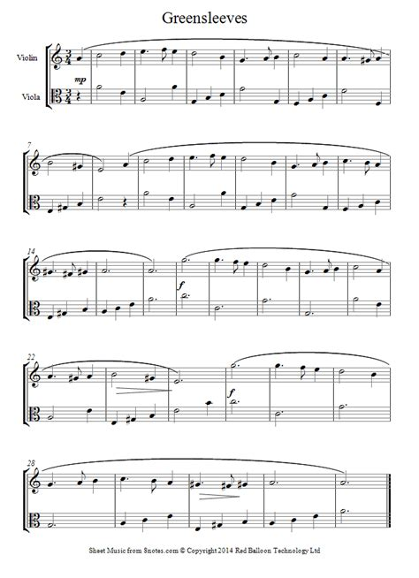 song duet greensleeves sheet for violin viola duet 8notes
