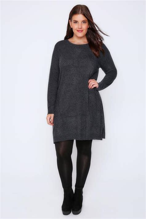 knitted tunic dresses uk grey wool blend tunic dress with front seam detail