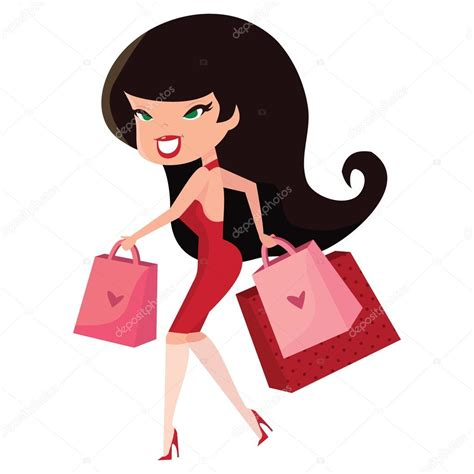 imagenes pin up vintage cartoon retro pinup girl with shopping bags stock vector