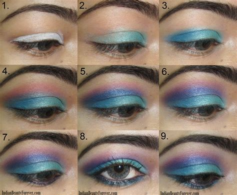 Eyeshadow Blue bright blue eye makeup step by step tutorial indian