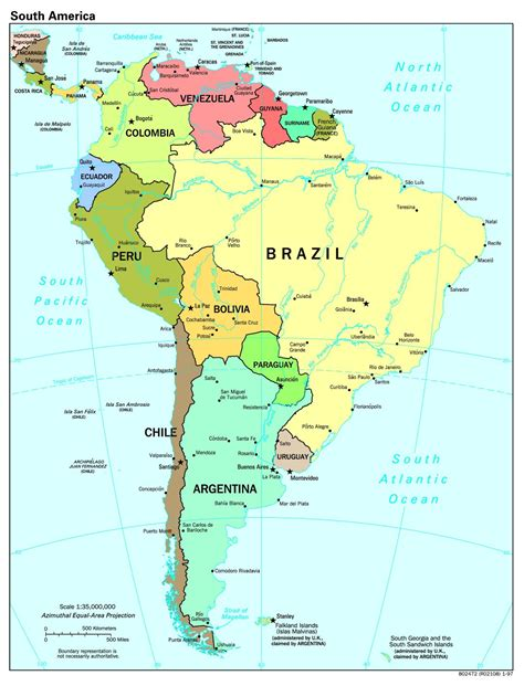 america map scale large scale political map of south america with major