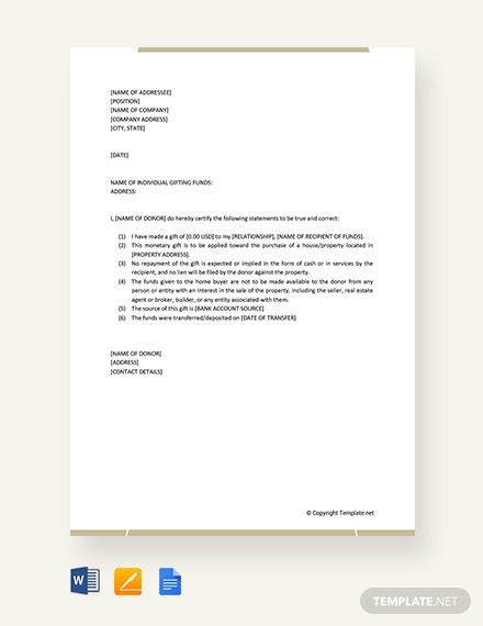 business gift letter template word google docs