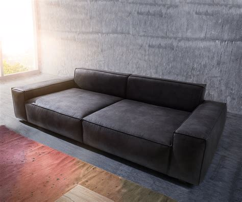 big and sofa bigsofa sirpio anthrazit 270x125 cm kedernaht vintage mit