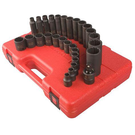 Kunci Sock 9mm 38 Drive Socket 12 Point Metric Crossman Usa 29 pieces 3 8 drive 12 point metric impact socket set sunex international 3