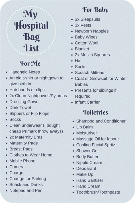 my parentimes printable checklists 9 babys layette what to pack in your hospital bag checklist hospital bag