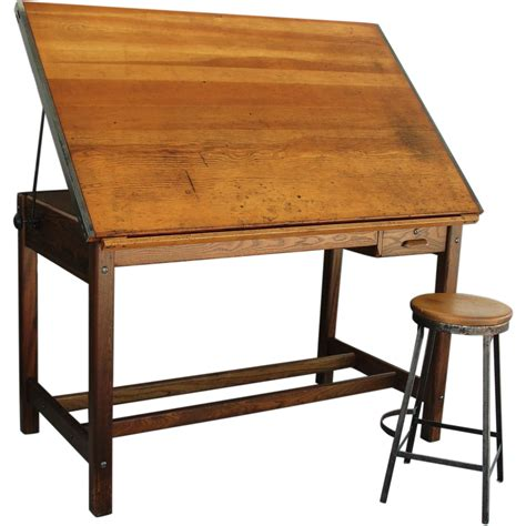 Vintage Industrial Hamilton Drafting Table Kitchen Island Antique Drafting Tables For Sale
