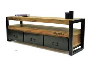 meuble tv bois de palissandre et fer recyl 233 meuble de