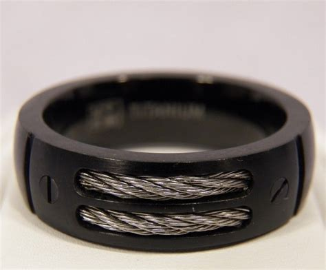 new black titanium dual cable mens 8mm ring wedding band