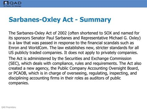 sarbanes oxley act section 201 ppt ifrs sox overview presentation lance lacross cpa