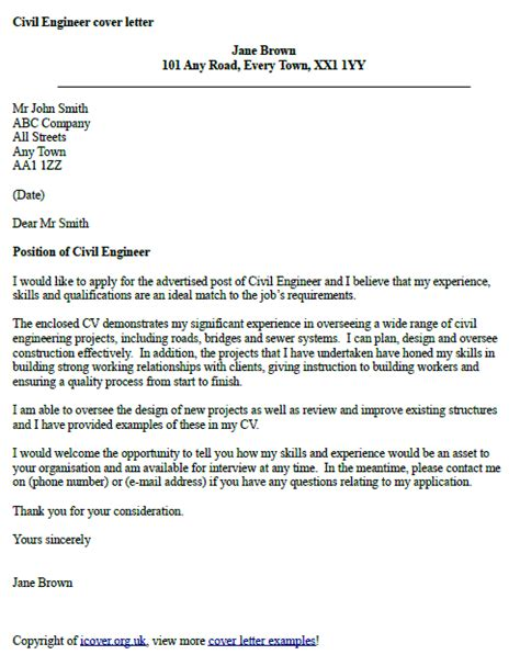 Civil Engineer Cover Letter civil engineer cover letter exle icover org uk
