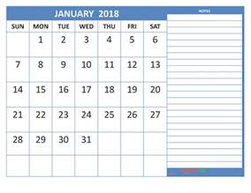 Calendar 2018 Printable With Notes January 2018 Calendar Printable Space For Notes Steel Blue