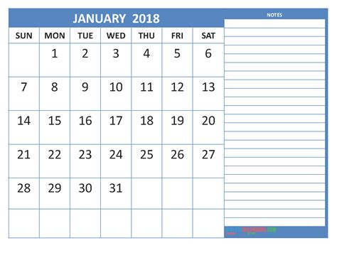 printable monthly calendar 2018 with notes free january 2018 calendar in printable format calendar