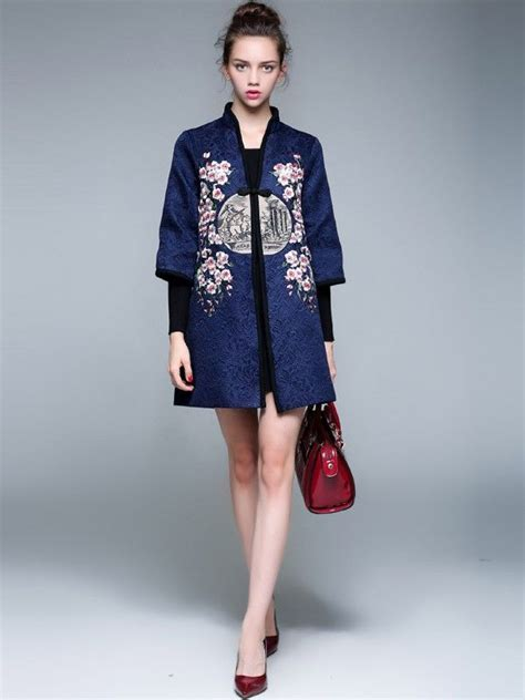 D1969 Baju Dress Gaun Midi Flower Print Casual Wanita floral embroidery tang suit s coat chin jacket suits ps and s