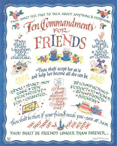 10 Commandments For A Lifelong Friendship by Ten Commandments For Friends Calligraphy