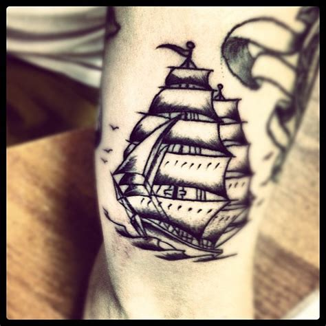 small nautical tattoos small ship on sleeve