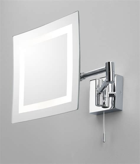 Bathroom Vanity Mirror Chrome Halogen Square Extending Magnifying Bathroom Mirror
