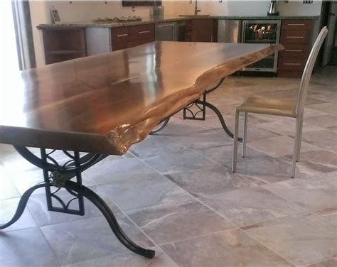 Live Table by Live Edge Table With Wrought Iron Base Wood Chic