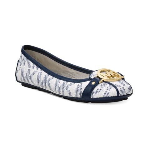michael kors shoes fulton flats michael kors michael fulton moc logo flats in blue white