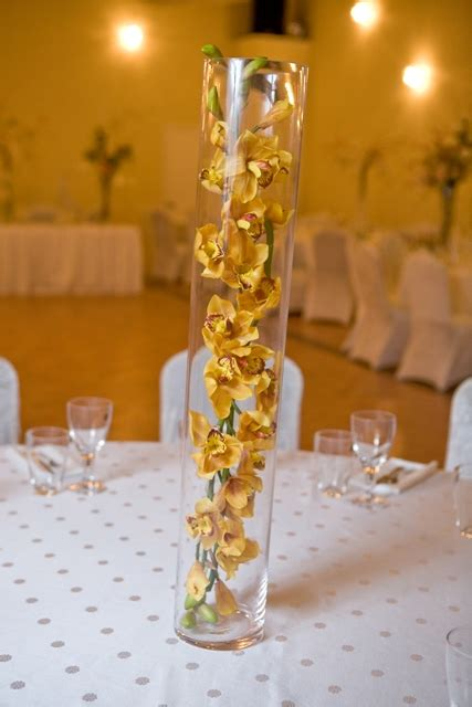 Vase Wedding Centerpieces by Yellow Floral Vase Wedding Centerpiece Demers Banquet