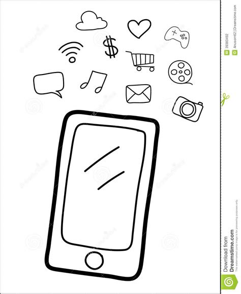 doodle draw windows phone smart phone vector stock vector image 39383492