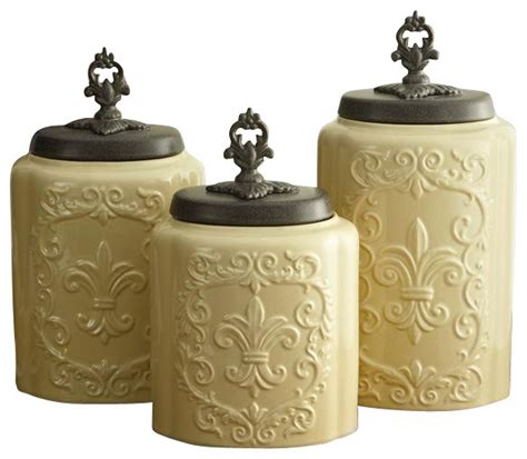 Fleur De Lis Kitchen Canisters Set Of Three Classy Glass Polystone Fleur De Lis Decorative | antique fleur de lis cream canister set of 3 farmhouse