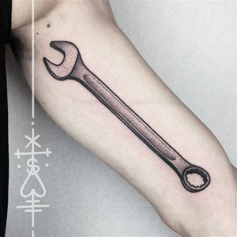 wrench tattoo designs arm tool wrench dotwork style