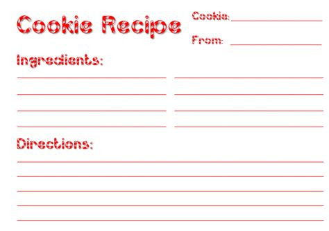 cookie recipe card template free recipe card templates lights