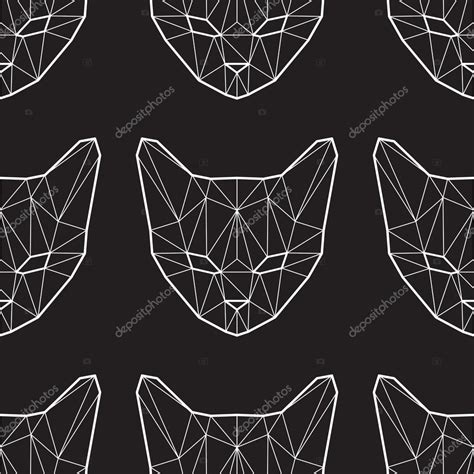 pattern low poly vector vector seamless pattern with low poly cats stock vector