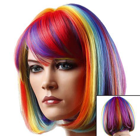 colored wigs rainbow multi colored wig