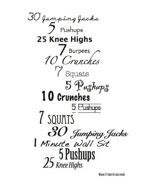 free fitness at home exercise chart for charts