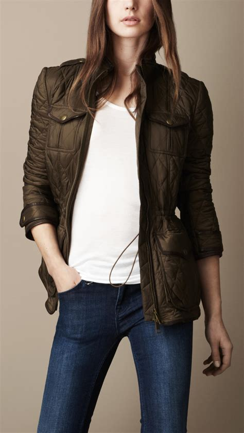Burberry Leather Quilted Jacket by Burberry Brit Leather Detail Quilted Jacket In Green