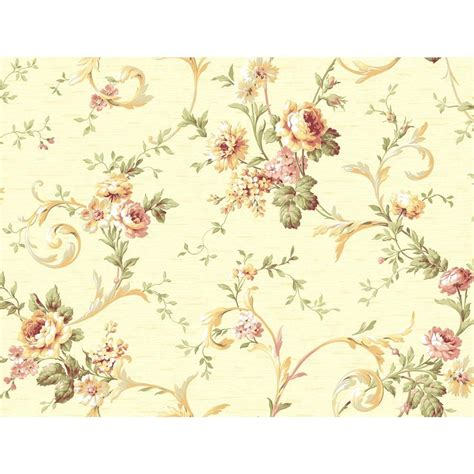 Flower Soft Hp by York Wallcoverings Floral Scroll Trail Wallpaper Cg5641