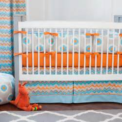 Orange And Blue Crib Bedding Gray And Orange Ikat Dot Crib Bedding Carousel Designs